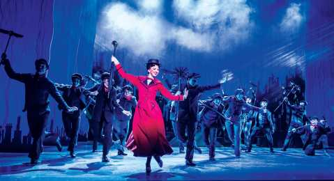MARY POPPINS -  Step In Time - Zizi Strallen as Mary Poppins and the Company. Photo credit Johan Persson-min-min
